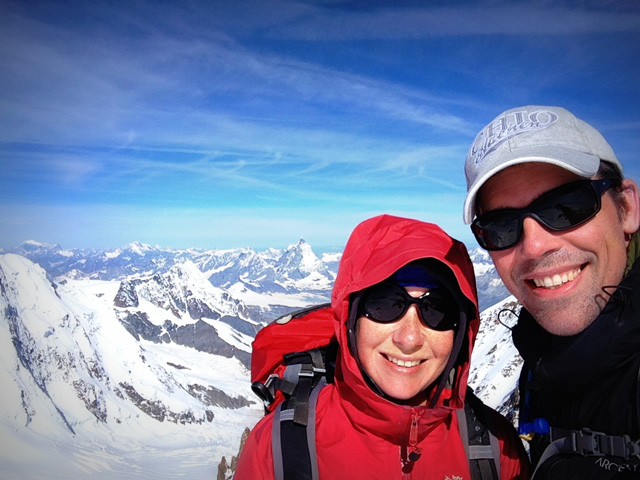 Anna and Phillip on Signalkuppe, Monte Rosa, with the Matterhorn in the background.