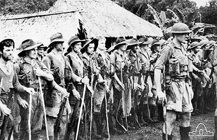 39th Militia Btn parading at Menari Village before their withdrawal from the Track.