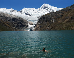Chilly swim at 4,200m. Laguna Rajucolta.