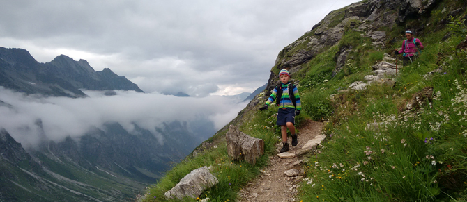 The author with her son, Callum, in the Zillertal Alps