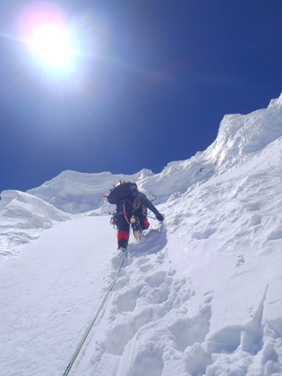 High on the north face of Anidesha Chuli, Photo: Ben Dare