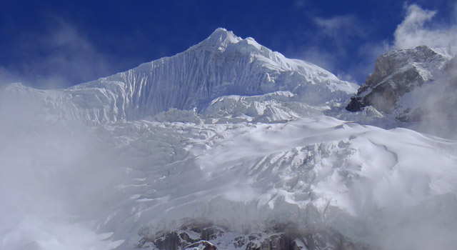 First glimpse of Anidesha Chuli (White Wave, 6900m) Photo: Scott Scheele