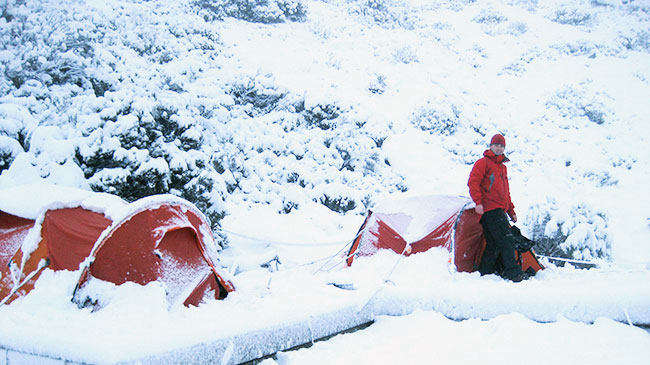 Snow camping in Tasmania's Western Arthurs.