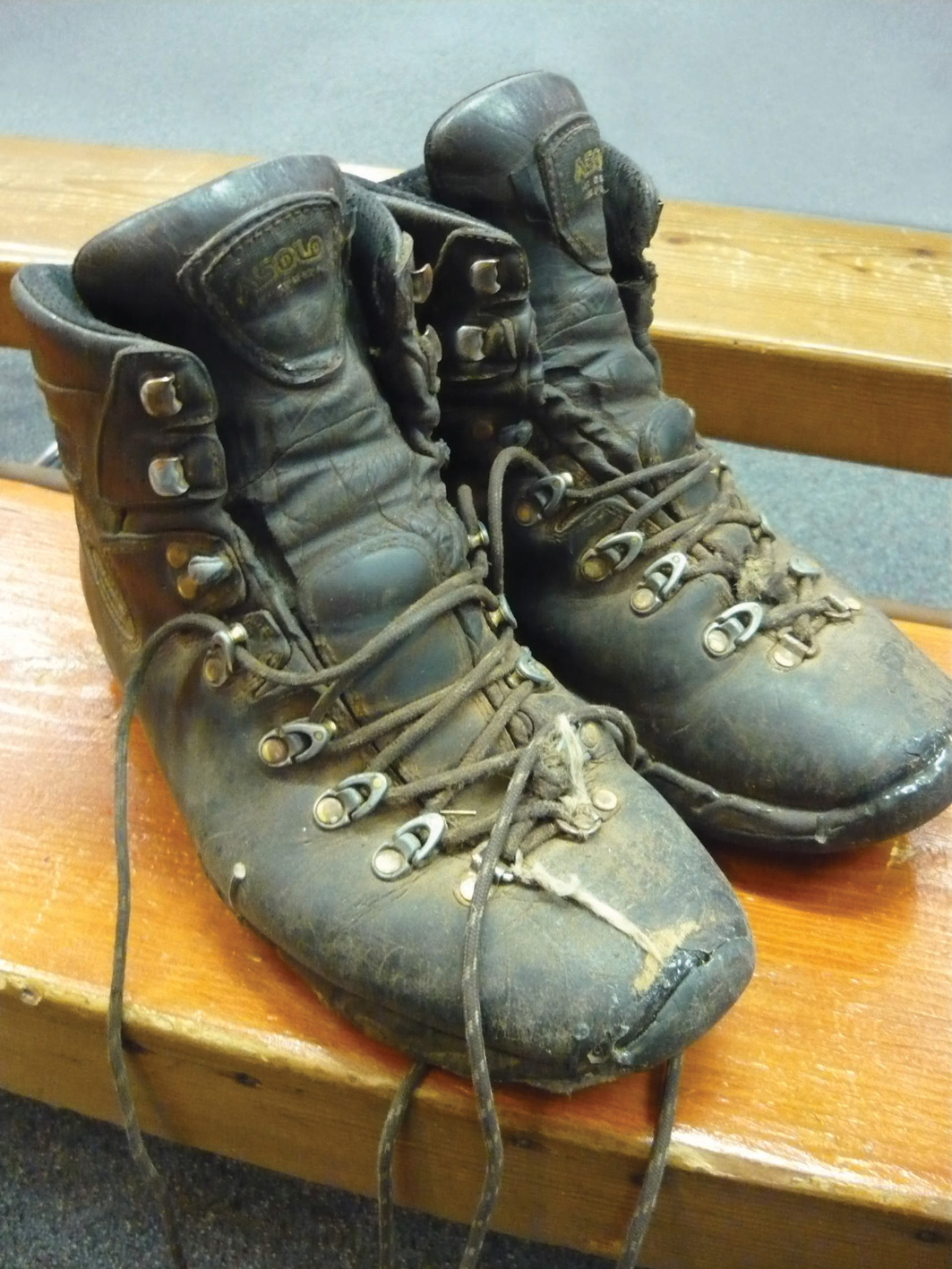 Well worn Asolo leather boots