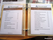 Austrian Hut menu. Correct at 2013. Main meals on the right are 6 to 9 euro