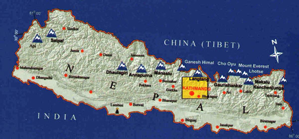 Kathmandu Valley locator map