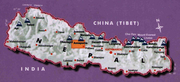 Tatopani locator map