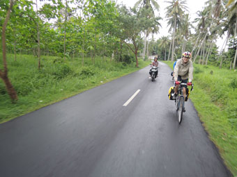 Enjoying the ride down from Ubud to Denpasar, Bali