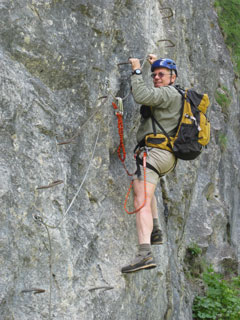 Via Ferrata de Tournoux. France. Grade PD. Note the climbing is on stemples rather than rock
