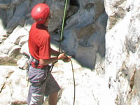 Belayer in action