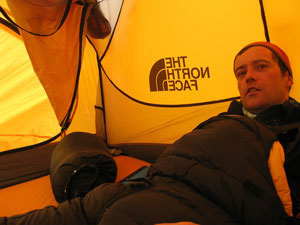 Trying to rest in the tent at high camp on the South Col, 7950m
