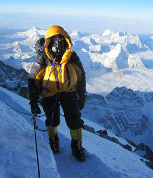 Simon Gower on the summit ridge of Everest