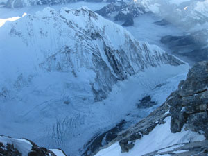 From the Summit looking down the south face of Everest into the Western Cwm