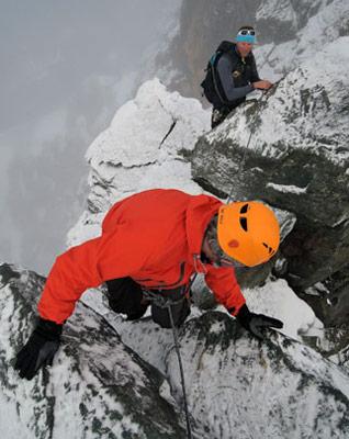 Climbing near the summit