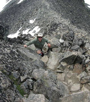 Scrambling towards the summit of Kyrkja