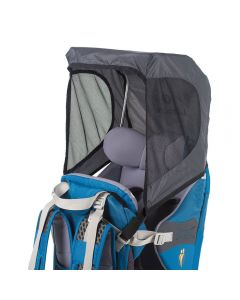 Sun shade attached to child carrier.
