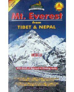 MT EVEREST CLIMBING MAP (FROM TIBET & NEPAL) 1:40,000