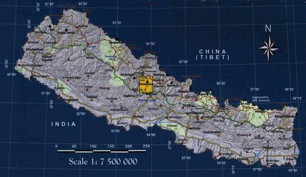 Annapurna Base Camp locator map