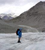 Descending Arolla Glacier below Col Collon