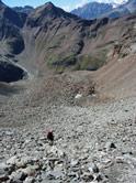 Rough going descending Col di Valcornera, another 3,000m col