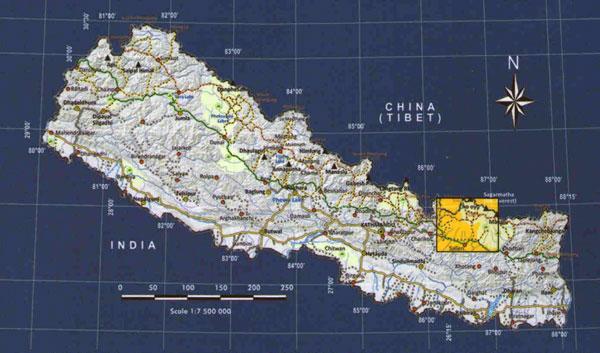 Jiri to everest locator map