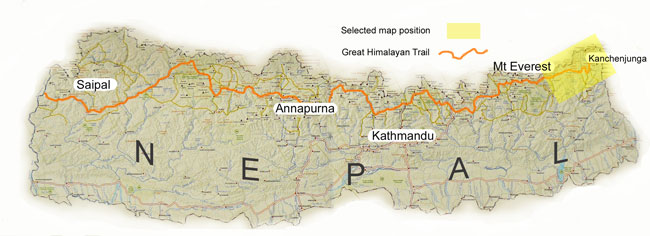 Kanchenjunga locator map