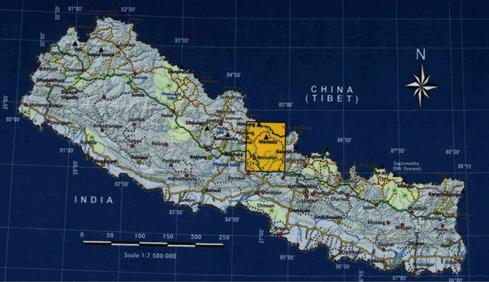 Manaslu locator map