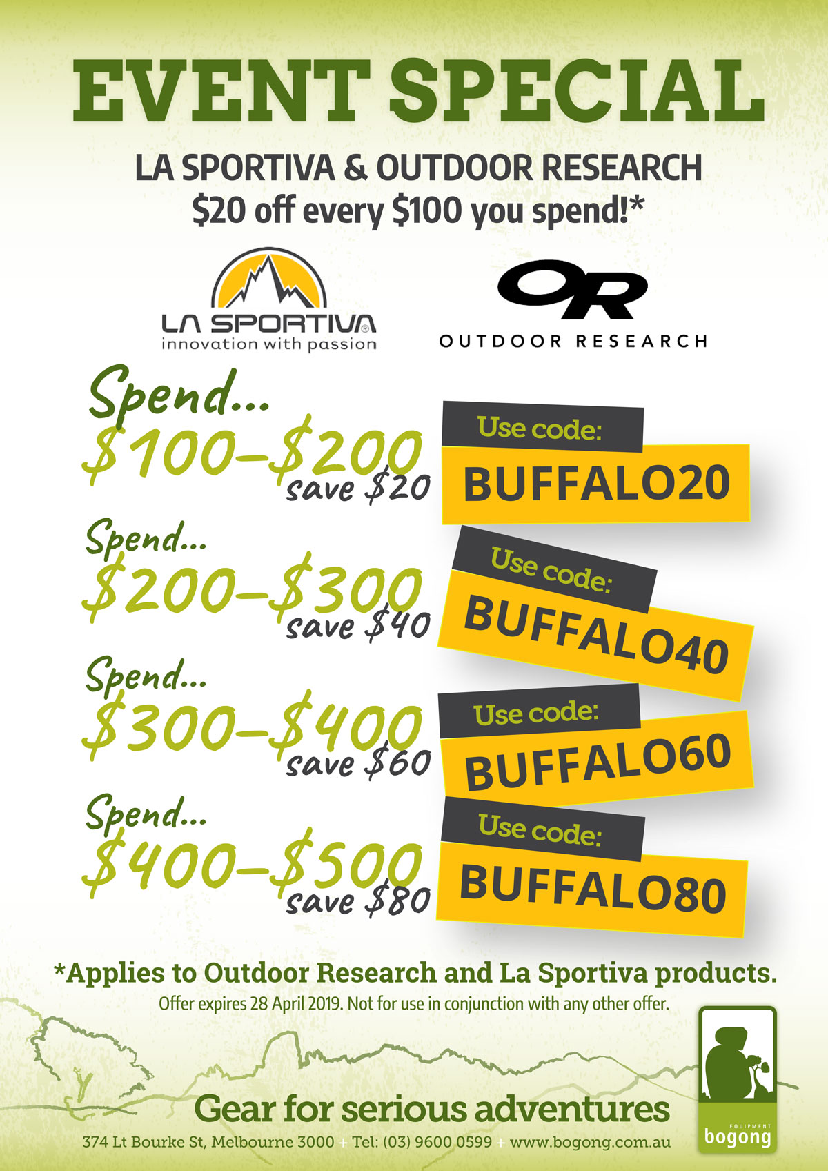 Special Offer on La Sportiva and Outdoor Research: $20 off every $100 you spend