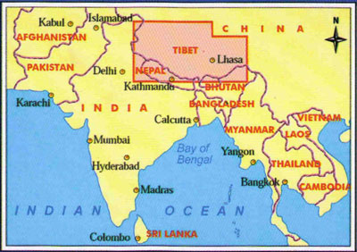 Tibet locator map