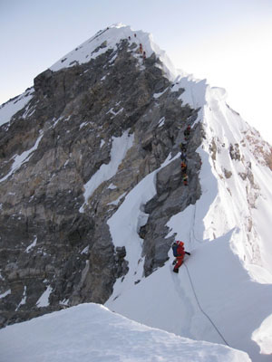 The final obstacle of the corniced ridge and Hillary Step viewed from the South Summit