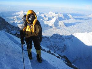 Simon on the summit ridge